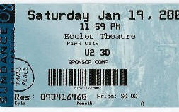 U2 in 3D ticket stub